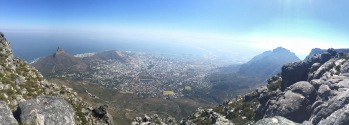 Looking down 1,086m at cape town from the top of Table Mtn